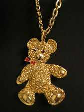 Rare Haute Couture Runway Moschino Gold Rhinestone Bear Pendant Necklace