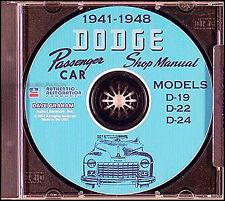 Dodge Car CD ROM Shop Manual 1941-1942-1946-1947-1948 Repair Service D19 D22 D24