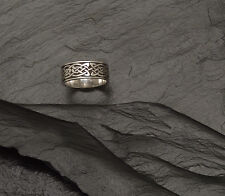 Sterling Silver Clonmacnoise Knotwork Ring Wide ~ Size 10 1/2