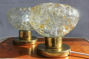 Vintage Pair Of Table Lamps 70s Bedside Lamps with Massive Ice Glass and Brass b