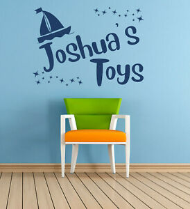Personalised Name, toys, Boat, Vinyl Wall Art Sticker, Mural, Decal. Kids