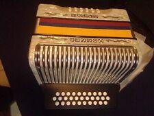 Accordion Hohner Corona III BbEbAb, besas, cinco letras, white Colombian flag