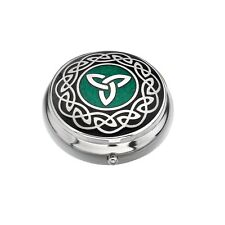 Pillbox Silver Plated Celtic Trinity Knot Green Brand New and Boxed