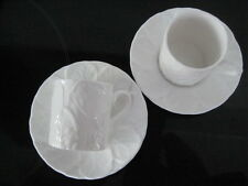 2 X COALPORT COUNTRYWARE COFFEE CAN CUP SAUCER ESPRESSO NESPRESSO WHITE WEDGWOOD