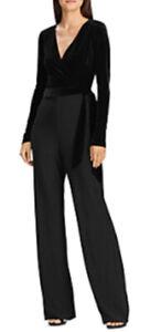 Lauren Ralph Lauren Velvet-Bodice Jersey Jumpsuit - Women's Size 2, Black NEW