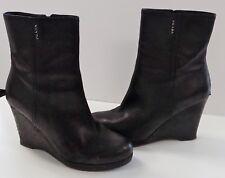 PRADA Black Leather Ankle Bootie Wedges Side Zip 4in Heel GUC Sz 40 B3993