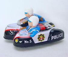 Daiya MT Japan PD POLICE MOTORCYCLE + SIDECAR Tin Friction Toy Bike Mint`68 RARE