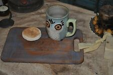 Vintage Worn Dough Board/Serving Board/Candle Setter Primitive Robins Egg Blue
