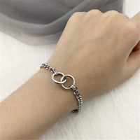 925 Sterling Silver Curb Chain Double Circle Bracelet Fashion Jewellery Gift 9g