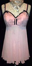 CACIQUE~PRINCESS Woman's PINK Black LACE~Chemise Babydoll Lingerie Plus 14/16 XL