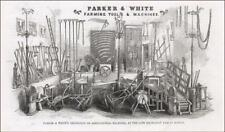 FARM MACHINES & TOOLS, PARKER & WHITE, Exhibition Boston Fair, antique 1853
