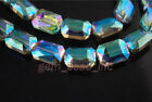 Glass Crystal Rectangle Shape Charming Loose Beads Jewelry Findings 18x12mm