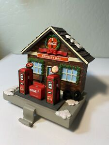 Coca Cola Company Christmas Stocking Holder Kringle's Gas Station mantle sitter