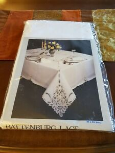 """Battenburg Lace White Oval 100% Cotton Tablecloth Set 66""""x 84"""" New Old Stock"""
