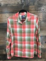 The North Face Women's Pink & Green Plaid Button Up Tab Sleeve Shirt Size XL