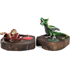 Pair Dragon tea light candle holders 18cm red and green dragons wood / resin