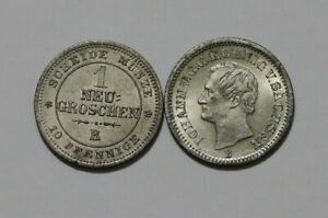 GERMANY SAXONY 1 GROSCHEN 1867 + 1865 BOTH HIGH GRADE B38 U4