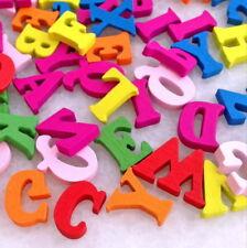 100pcs Mixed Colors alphabet Wooden Buttons Fit Sewing Scrapbook DIY Hnk234