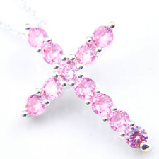 Cross Jewelry Natural Sweet Pink Fire Topaz Silver Necklace Pendants With Chain