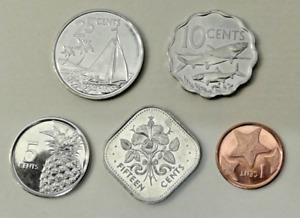 BAHAMAS Coins set of 5 pcs. (1, 2, 10, 15, 25 Cents) 2010/2015 UNC
