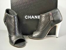 CHANEL BLACK PERFORATED LEATHER OPEN TOE PUMPS BOOTIES WHITE HEELS 39/8.5 NEW
