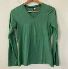 Ibex 100% Merino Wool Long Sleeve T-shirt, Size Small, Green V-neck