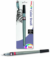 Pentel Arts Color Brush Black Pigment Ink Durable Nylon Brush Tip Acid Free