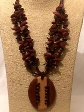 STATEMENT Long Brown Beaded Wood Chain Necklace Pendant Multi Strand AFRICAN