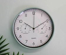 Wall Clock 30cm with Thermometer Hygrometer Home Office Decor Round Green 30cm