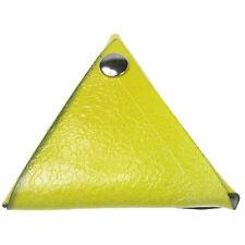 Patrón de flor de color amarillo () Triangular Monedero de cuero hecho a mano en Reino Unido Cartera