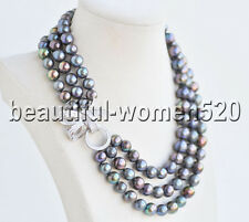 Z8576 3Strds 12mm Natural Black Almost-Round Edison Keshi Pearl Necklace CZ