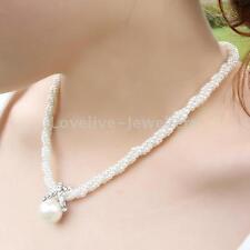 Women Lady Pendant Chain Choker Chunky Pearl Statement Bib Necklace Jewelry