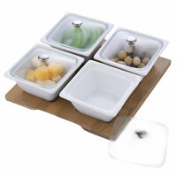 White Ceramic Relish Serving Bowl Set with Glass Lids & Bamboo Tray, Set of 4