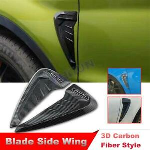 Car Side Wing Air Flow Fender Grill Intake Vent Trim Sticker Carbon Fiber Style