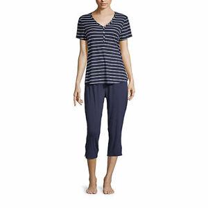 LIZ CLAIBORNE SLEEPWEAR 2Pc SET BLUE TOP & Crop Pants NWT$44