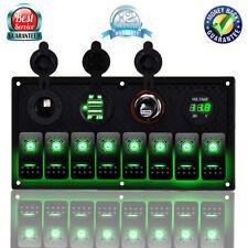 8 GANG Marine Boat Car Green LED Rocker Switch Panel Waterproof Circuit Breaker