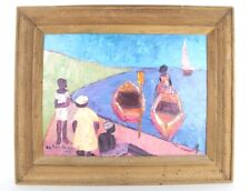CALIXTE HENRY HENRI SIGNED LISTED HAITIAN ARTIST ACRYLIC ON MASONITE PAINTING