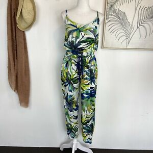 BOOM SHANKAR   Size 10   Green Blue White Tropical Stretch Strappy Jumpsuit