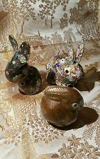 Vintage Chinese Cloisonne, 3 Rabbits Decorated