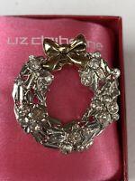 Vintage Enameled Rhinestone Christmas Wreath Silver Gold Liz Claiborne Brooch