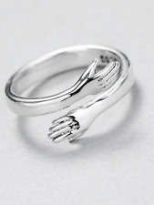 925 silver heart love hug hands one size adjustable ring jewellery present gift