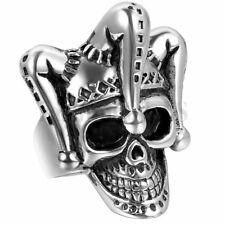 Mens готик панк нержавеющей стали смешной клоун череп скелет байкер размер кольца 7-12
