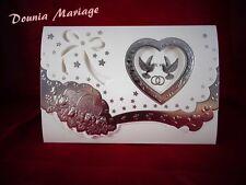 Faire Part motif colombe et cœur argenté  x20 Pcs