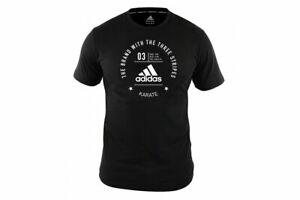 Adidas Karate T-Shirt Martial Arts Black Tee 100% Cotton Top Training Gym