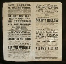 "Adelphi Theatre London 1865 Poster for ""Rip Van Winkle"" with Joseph Jefferson"