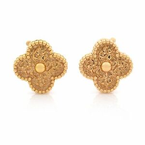 Van Cleef & Arpels 18K Rose Gold Vintage Alhambra Clip Earrings