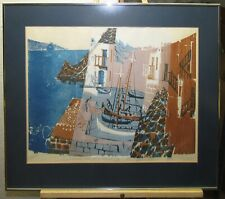 Costas Grammatopoulos '72 Modern Woodcut Ships at Harbor Aegean Greece Listed