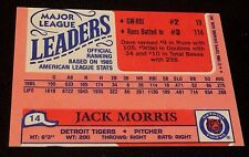 DAVE WINFIELD 1986 Topps MINI Ldrs ERROR Partial WRONG BACK Jack Morris OddBaLL