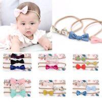 3PCS/1SET Headwrap Hair Accessories Elastic Baby Headband Cotton Bowknot