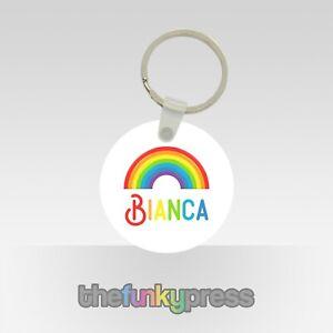 Personalised Rainbow Plastic Keyring Gift Birthday Pretty Car Keys Add Your Name